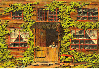 boy with arms folded on bottom of Dutch door entrance to 2-story building with large, curtain-covered windows on 1st floor and 3 windows on 2nd floor. building about half-covered with ivy vines