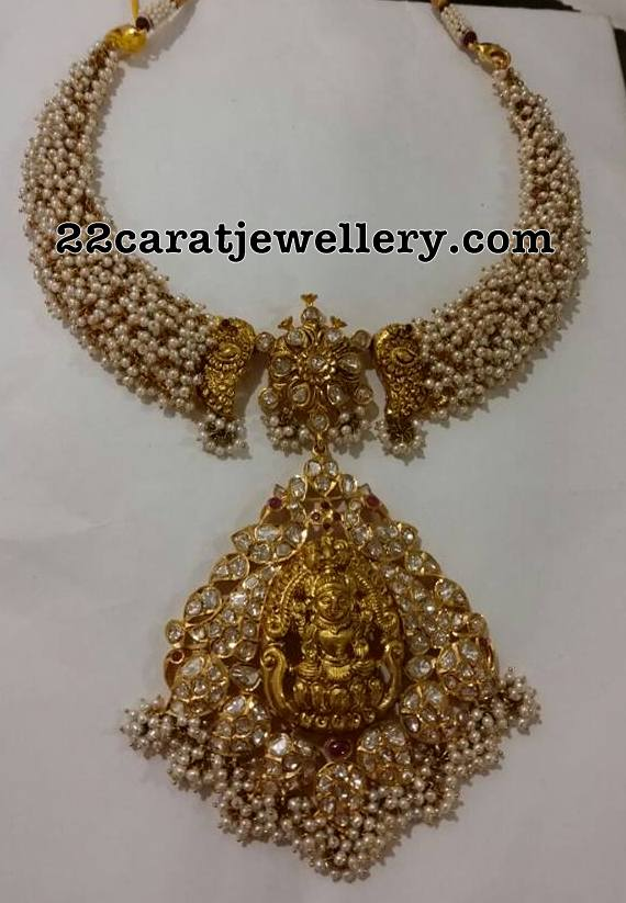 Pearls Embellished Lakshmi Necklace