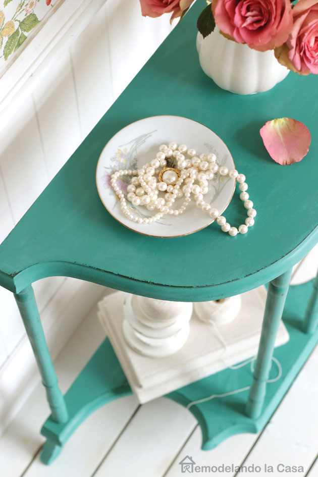 Shabby chic bedroom decor - nightstand demilune table