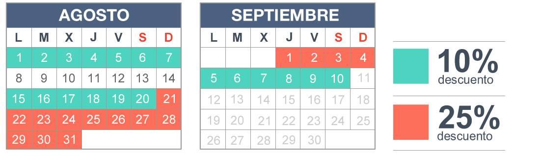 Calendario descuento