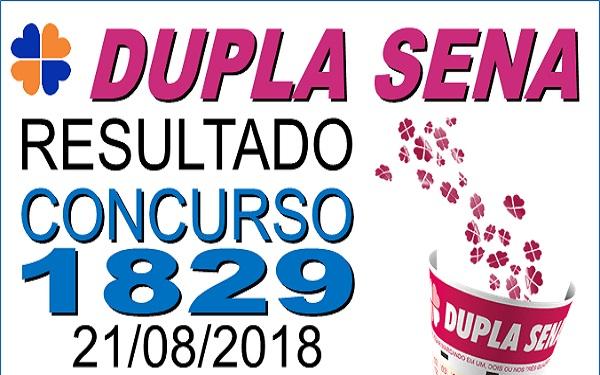 Resultado da Dupla Sena concurso 1829 de 21/08/2018 (Imagem: Informe Notícias)
