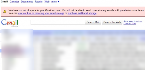 Gmail Full, Gmail Storage Notification
