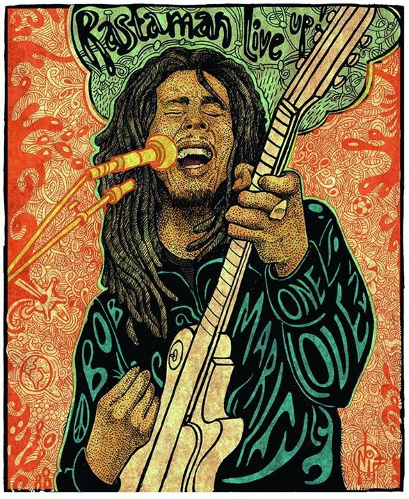 MusicTelevision.Com celebrates Bob Marley's 70th Birthday - Art by NipRogers.Com