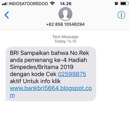 Dapat SMS Hadiah Dari Bank BRI, Penipu?