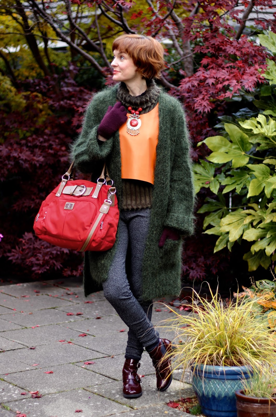 Fake Fabulous | Autumn style | Oversized green mohair cardigan & orange leather.