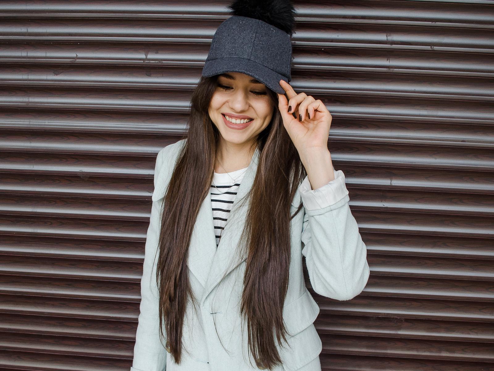 fashion blogger diyorasnotes white culottes stripped top shein slipons baseball hat