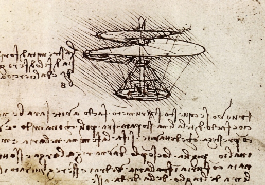 Leonardo's airscrew with his notes