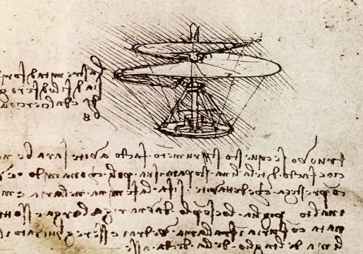 Leonardo's airscrew with his notes
