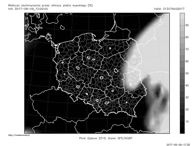 Ostatnia przed publikacją tekstu prognoza modelu GFS - zachmurzenie piętra wysokiego 7 sierpnia o godz. 21:00 CEST. Źródło: meteomodel.pl