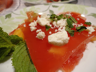 One of my favorite 4th of July recipes: Watermelon Jello Salad with fresh mint and feta cheese