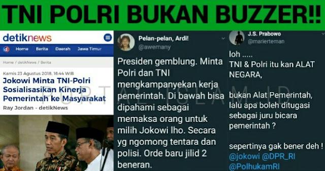 Jokowi Minta TNI Polri Sosialisasi Kinerja Pemerintah, Warganet: TNI Polri itu Bukan Buzzer!
