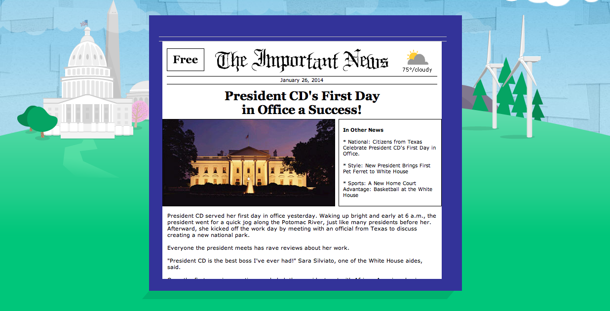 article on my first day in office