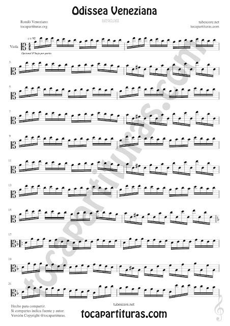 Viola Partitura de Odissea Veneziana Sheet Music for Viola Music Score p1