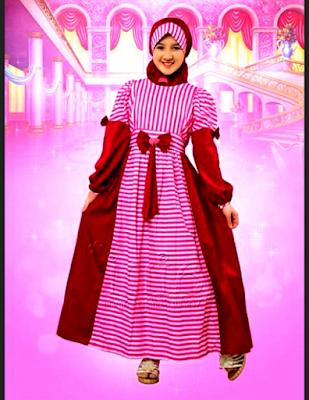 baju muslin anak perempuan dengan aksen garis
