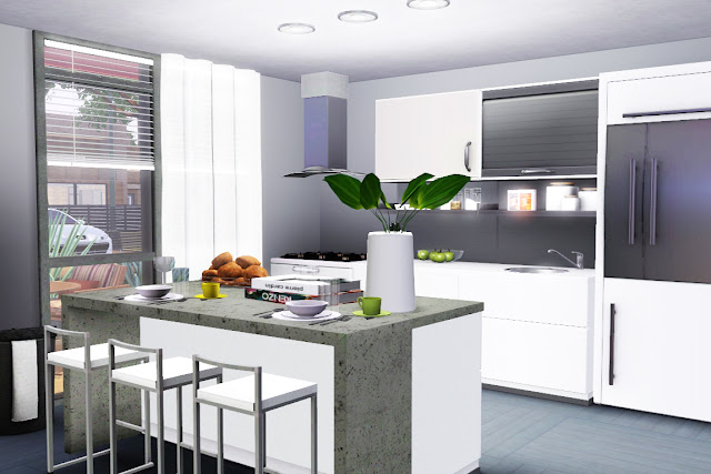cuisine luxe blanche sims 3