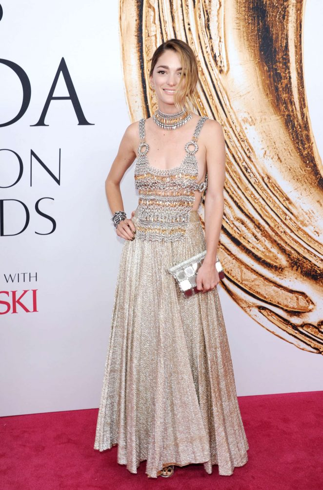 Sofia Sanchez goes braless in a bejewelled look at the CFDA Fashion Awards