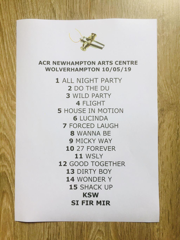 ACR Gigography - 10 May 2019, Newhampton Arts Centre, Wolverhampton - setlist