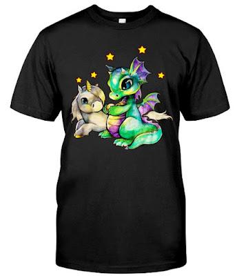 Unicorn and Dragon T Shirts Hoodie Sweatshirt Sweater Tank Tops