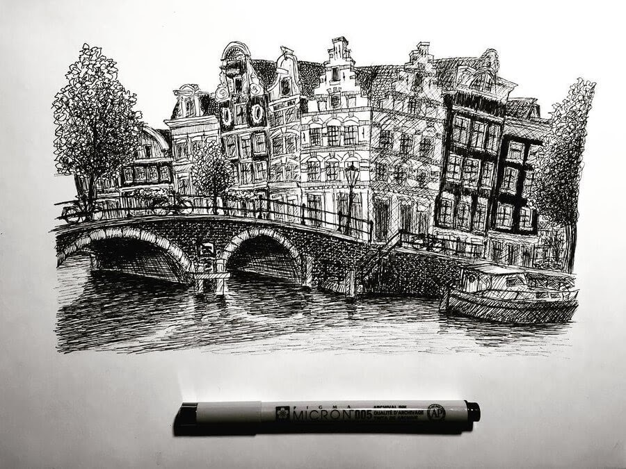 10-The-canals-of-Amsterdam-Architectural-Drawings-Henk-Jan-www-designstack-co