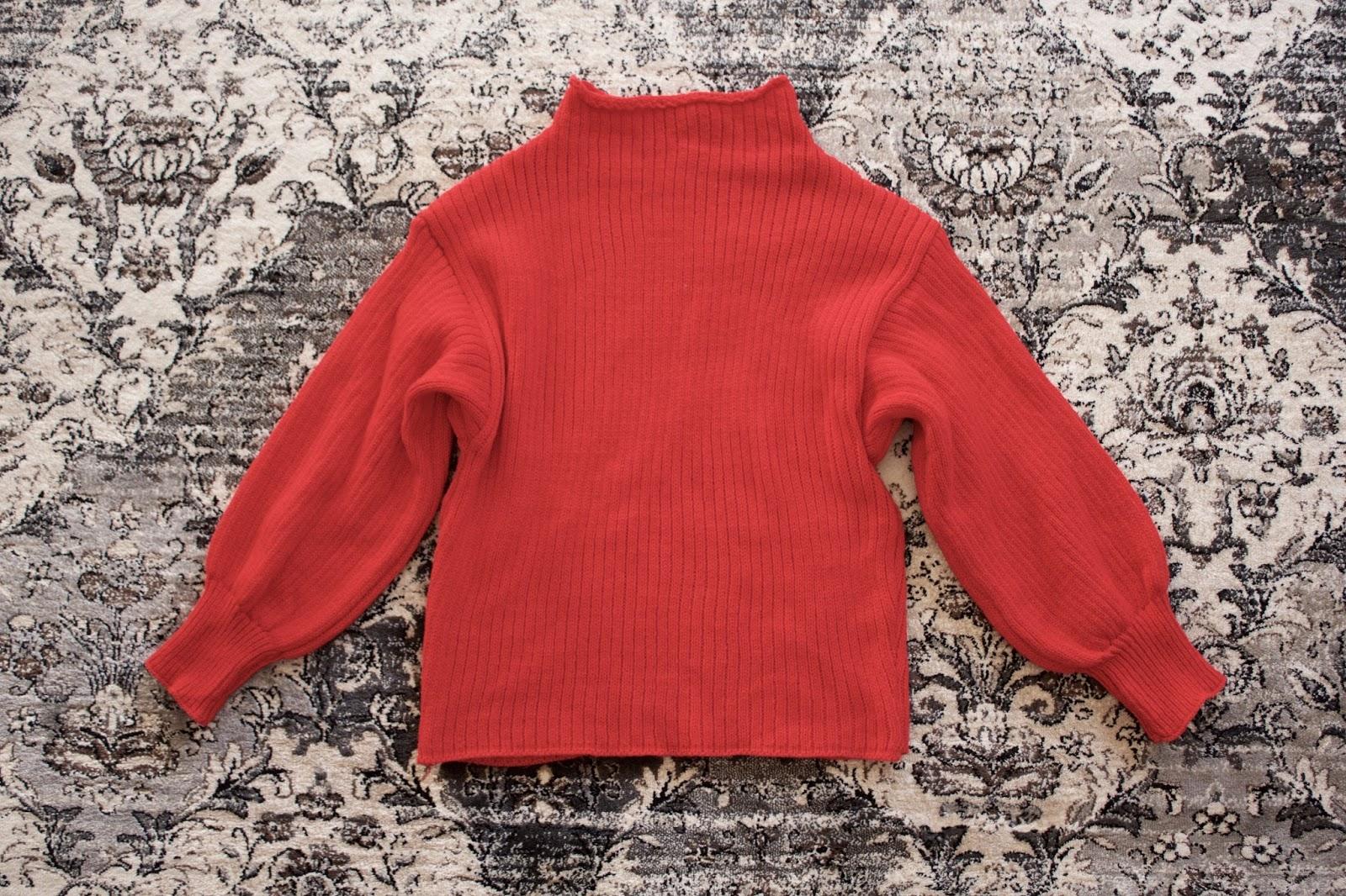 Plain Mock Neck Lantern Sleeve Sweater - Red