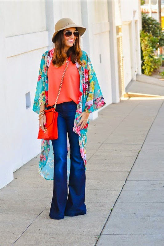 Wearing a Flared Jeans with Floral Kimono and Hat, Colorful Outfit for Spring Summer