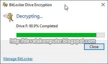 Gambar 16 - Cara Menonaktifkan BitLocker di Windows 10
