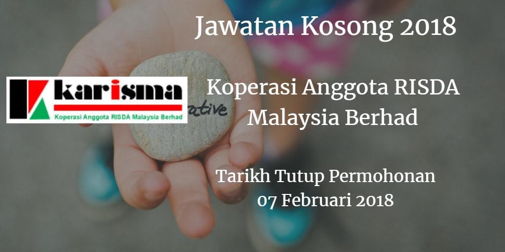 Jawatan Kosong Koperasi Anggota RISDA Malaysia Berhad 07 Februari 2018