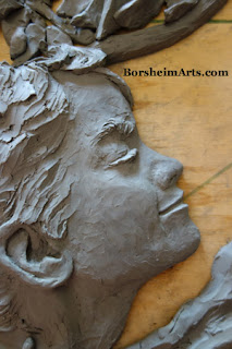 Male model young boy in bas-relief sculpture Borsheim Art