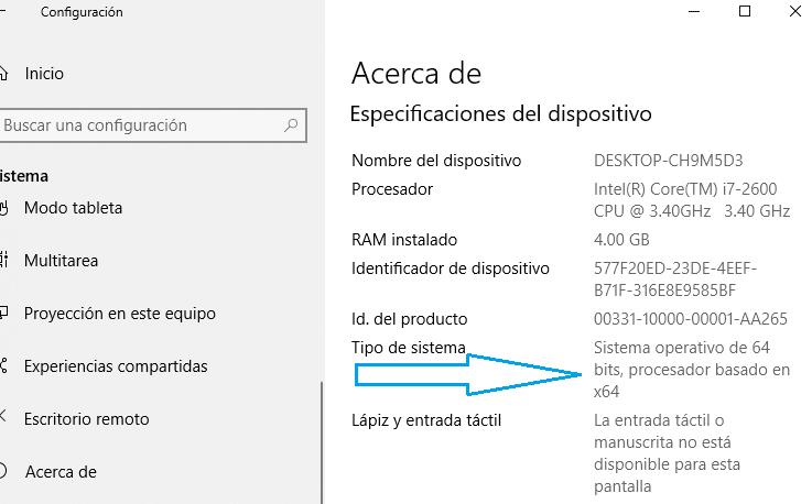 información de Windows 10 ¿32 o 64 bits? Cual tengo