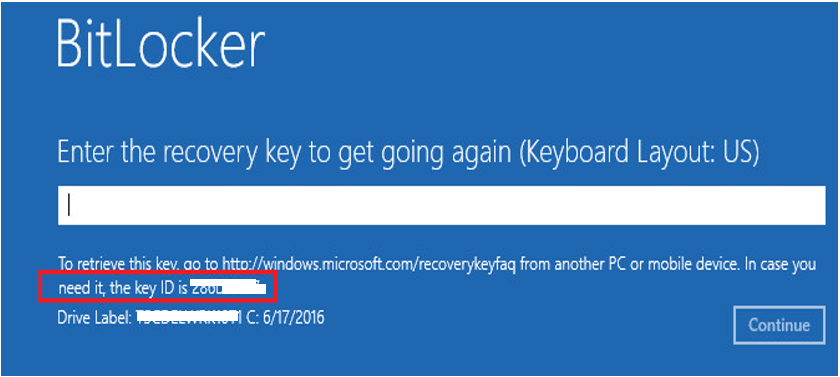 how to find bitlocker recovery key