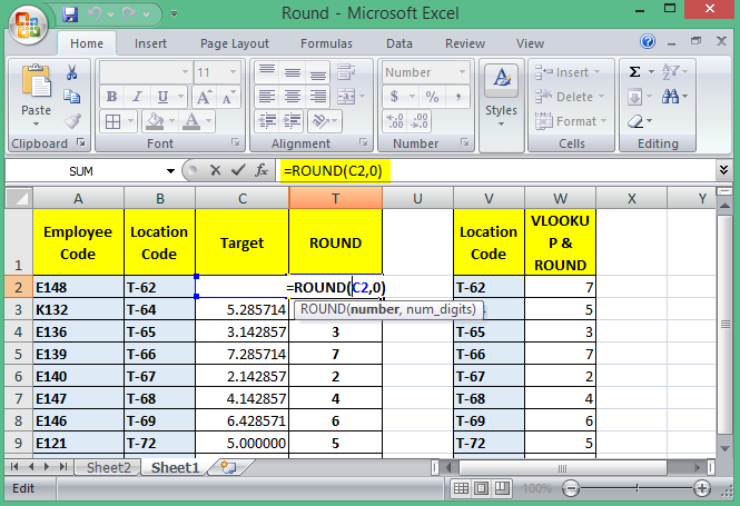 round function in excel