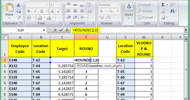 excel round roundup and rounddown function combination
