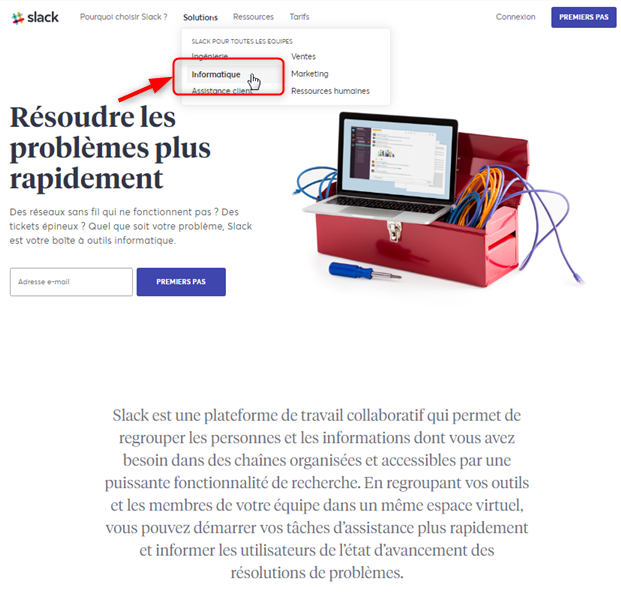 Slack - Solution pour l'informatique
