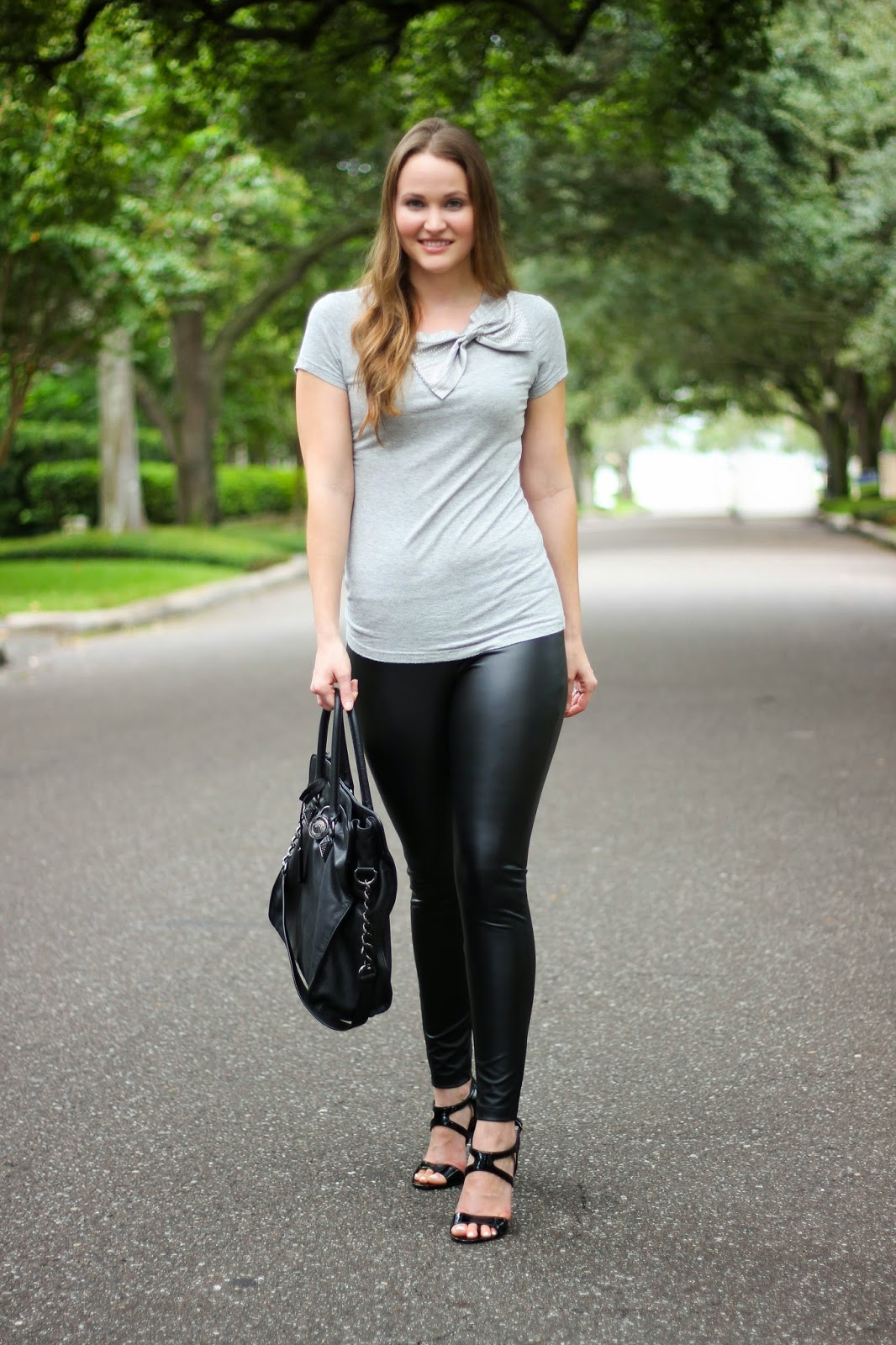 Faux Leather Leggings And A Statement Bow Kelly