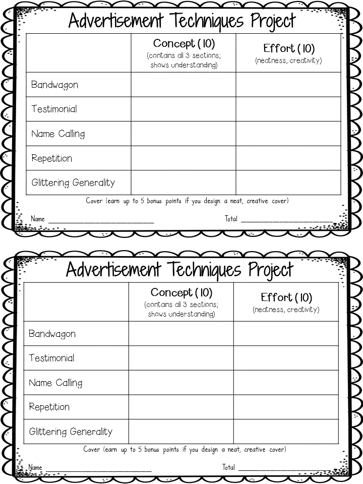 Advertising Techniques: A project idea for upper elementary and middle school students. Students define each advertising technique and then make their own sample advertisement to demonstrate their understanding of the concept! Blog post includes a free rubric.