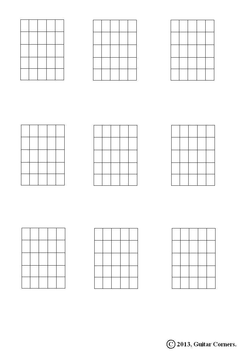 Guitar Corners: Chord Diagram Blanks (5 Fret Range)