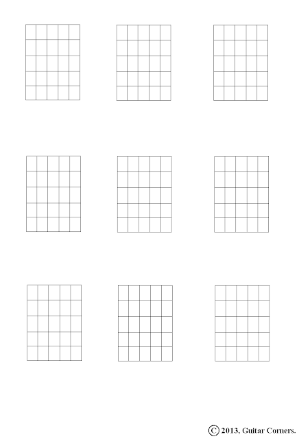 Guitar Corners: Chord Diagram Blanks (5 Fret Range)