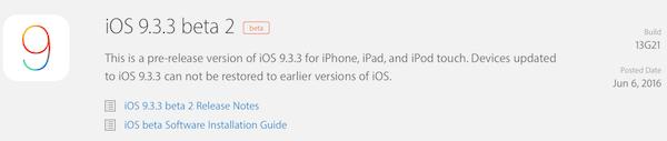 iOS 9.3.2 Beta 2 Download