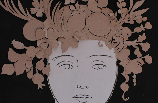 summer, cut-paper, charcoal, drawing, art, arte, dibujo, sarah, myers, artist, head, woman, eyes, face, cut-out, paper, brown, black, flowers, fruits, pomegranate, palm, personification, line, delicate, complex, ornate, seasons, plants, nature, natura, scissors, grapes, decoupee, verano, mouth, nose, detail, close-up, intricate, sketch, study