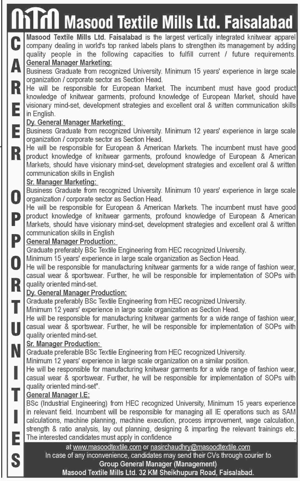 Jobs In Masood Textile Mills Limited  Aug 2017