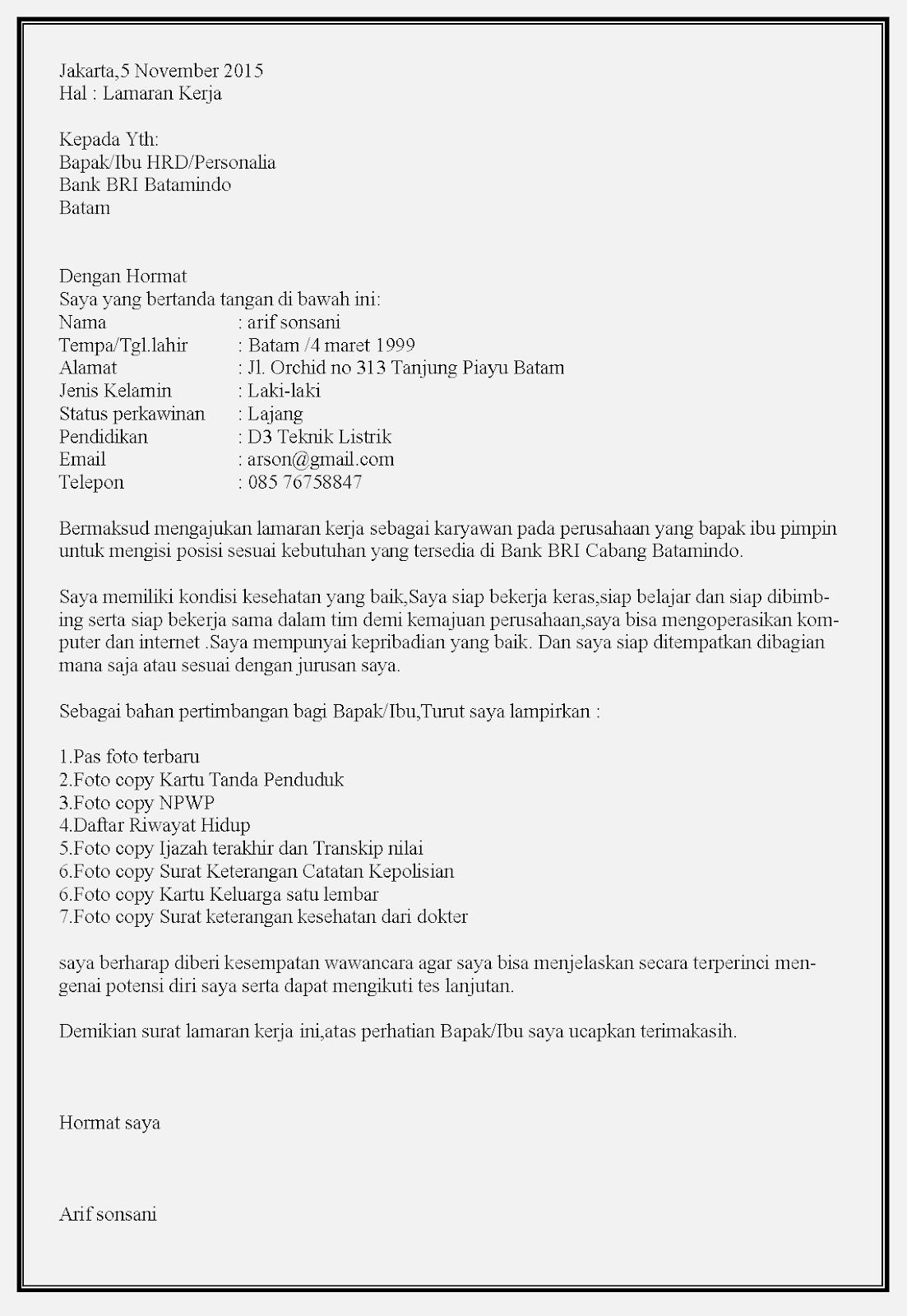 Contoh surat lamaran kerja bank BRI tanpa posisi