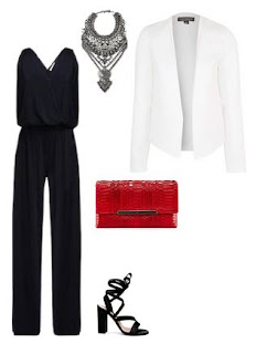 evento - blazer branco, macação preto, colar statement, sandália preta, clutch vermelha