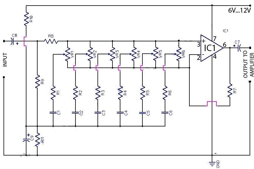 6 band graphic equaliser circuit using 741 op amp koleksi. Black Bedroom Furniture Sets. Home Design Ideas