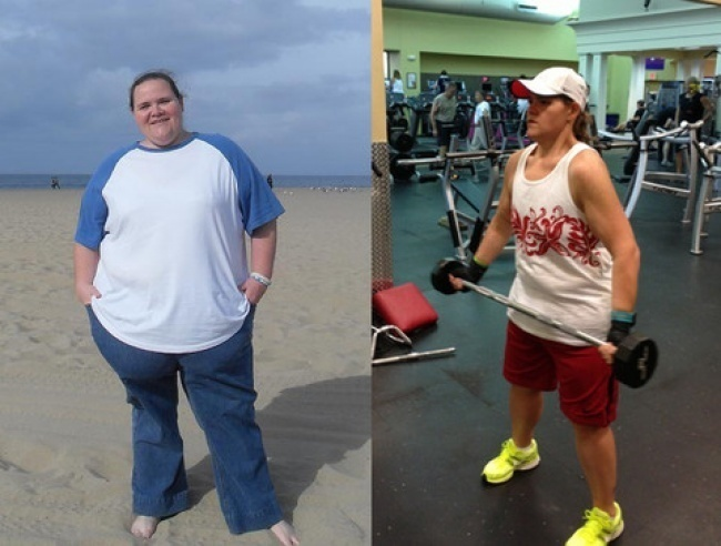 #13. The only thing Annette was willing to take off when she went to the beach was her shoes. - 23 Inspirational Before/After Photos Of People Who Can Say 'I Did It.'