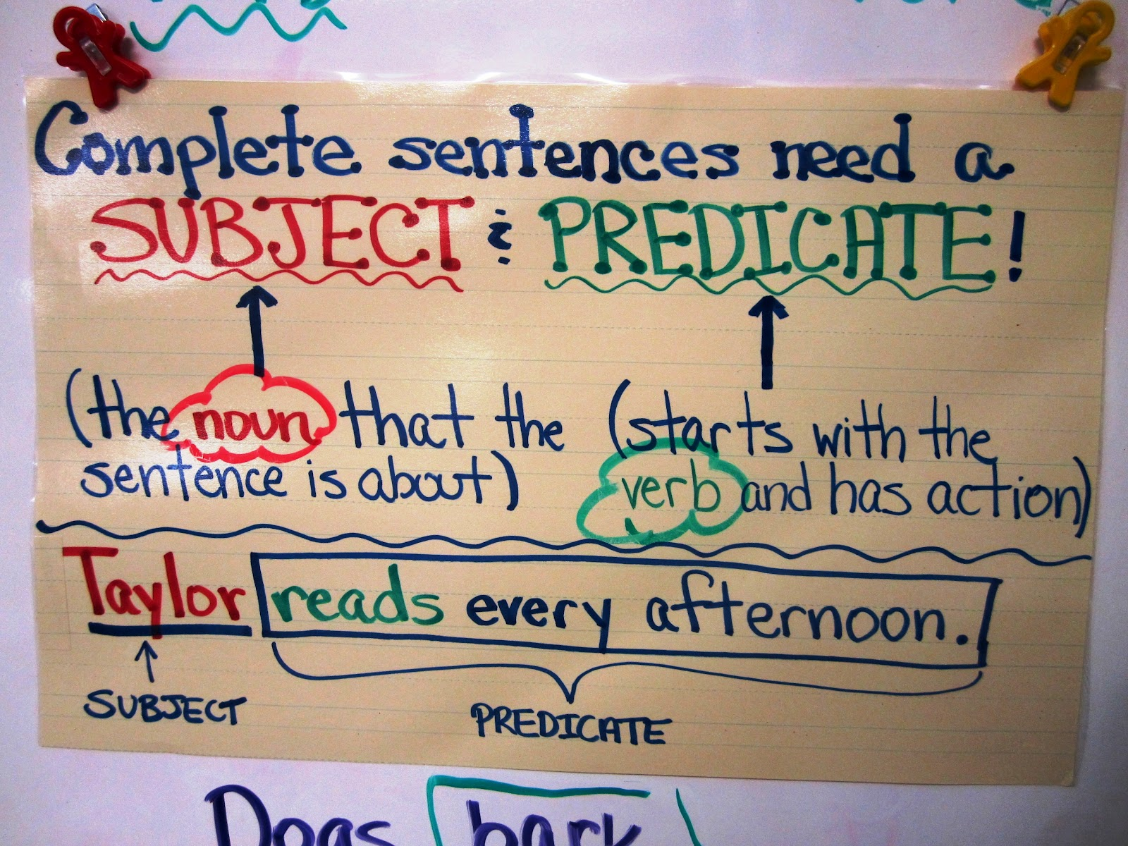 Write On Fourth Grade Subject Amp Predicate Freebie