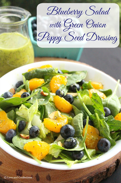 Blueberry Salad with Green Onion-Poppy Seed Dressing by LoveandConfections.com #BrunchWeek #FWCon #BlueberryToss