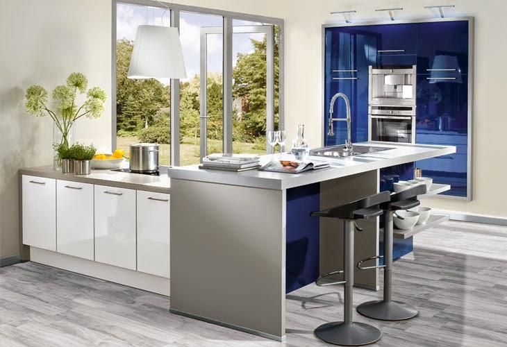 diseño cocina azul