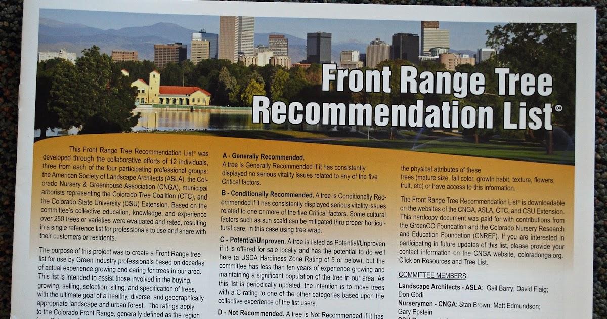 The Art Garden Front Range Tree Recommendation List 169
