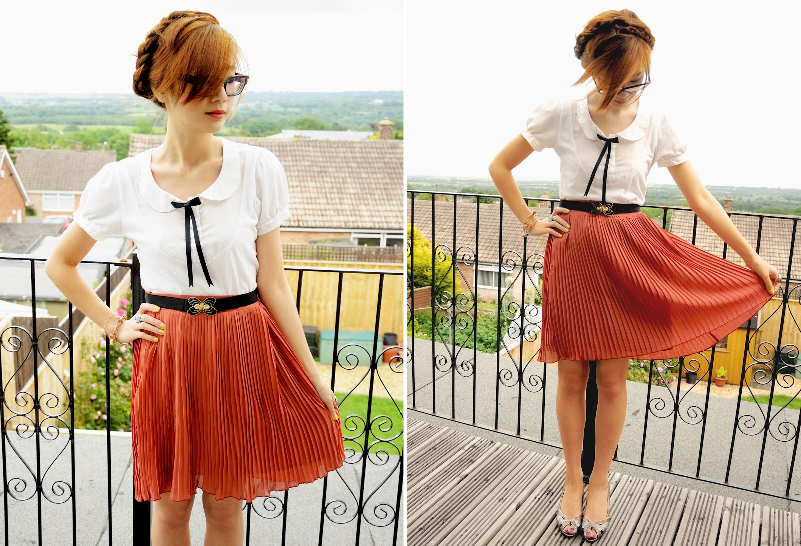 how to wear midi pleated skirt, milkmaid braid hairstyle