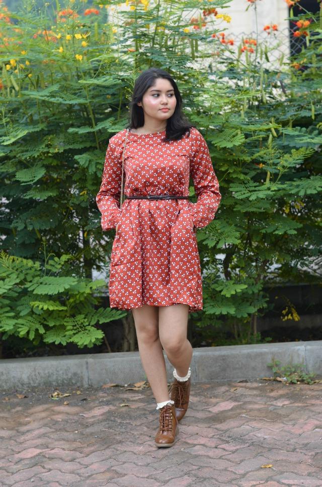 Leaf Printed Smock dress